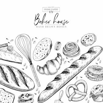 Juego de panadería. dibujados a mano pasteles de harina. plantilla de diseño vectorial