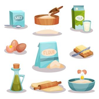 Juego de panadería, utensilios de cocina e ingredientes alimenticios para hornear y cocinar.