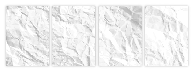 Juego de papel blanco arrugado en formato a4. hojas de papel vacías arrugadas con sombra para carteles y pancartas. ilustración vectorial