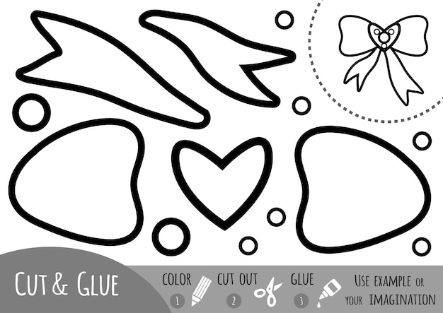 Juego de papel educativo para niños, bow. usa tijeras y pegamento para crear la imagen.