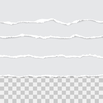 Juego de papel rasgado blanco. ilustración con sombras