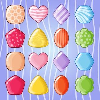 Juego de partido colorido caramelo lindo.