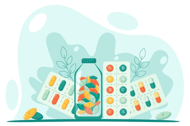 Juego de pastillas para el tratamiento. concepto de medicina y productos farmacéuticos. en un estilo plano.