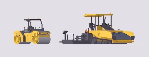 Juego de pavimentación asfáltica. rodillo compactador y pavimentadora de asfalto. ilustración. colección
