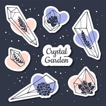Juego de pegatinas de cristal con elementos florales.