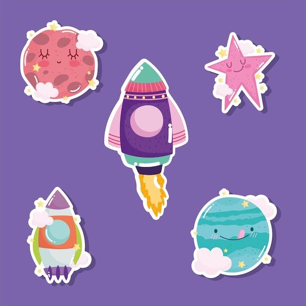 Juego de pegatinas de dibujos animados lindo galaxia de aventura espacial cohete planetas estrella