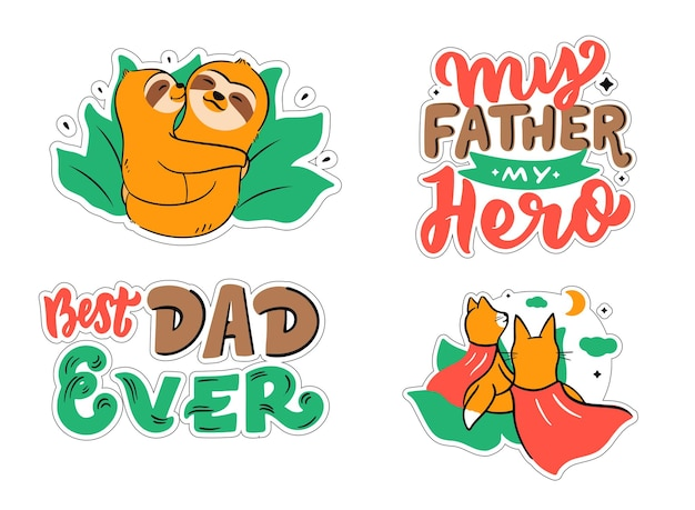 El juego de pegatinas es sobre el día del padre. los animales caricaturescos del zorro y el perezoso se abrazan.