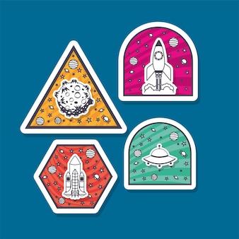 Juego de pegatinas espaciales sobre fondo azul
