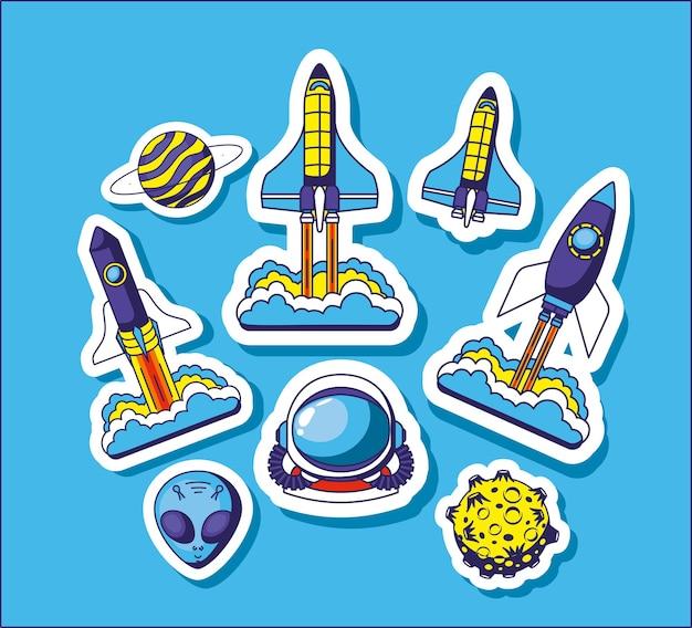 Juego de pegatinas espaciales
