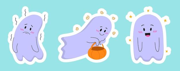 Un juego de pegatinas en forma de buenos fantasmas para la fiesta de halloween. Vector Premium