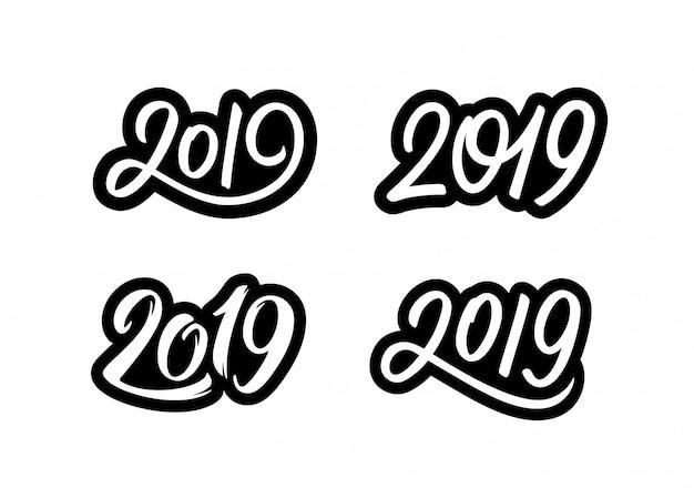 Juego de pegatinas happy new year 2019 con caligrafía.