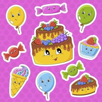 Juego de pegatinas con lindos personajes de dibujos animados. tema de feliz cumpleaños.
