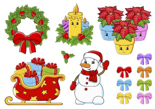 Juego de pegatinas con lindos personajes de dibujos animados. tema navideño. dibujado a mano. paquete colorido.