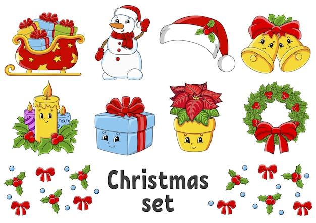 Juego de pegatinas con lindos personajes de dibujos animados. tema navideño.