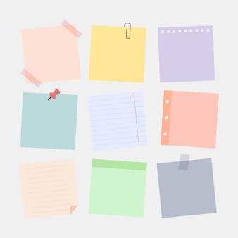 Juego de pegatinas de notas en diferentes colores