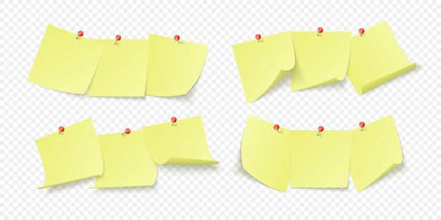 Juego de pegatinas de oficina amarillas con espacio para texto o mensaje pegadas con agujas a la pared. aislado sobre fondo transparente