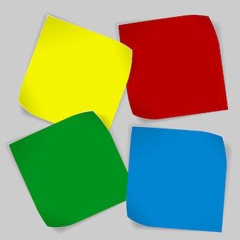 Juego de pegatinas de papel de colores rizados con sombras.