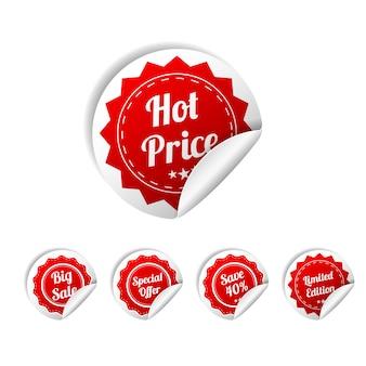 Juego de pegatinas redondas rojas de papel venta