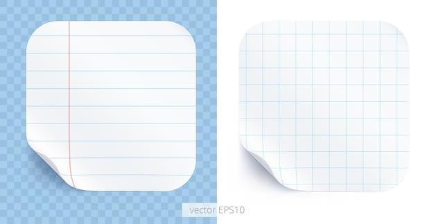 Juego de pegatinas redondeadas con textura realista de cuadernos escolares rayados y papel cuadriculado