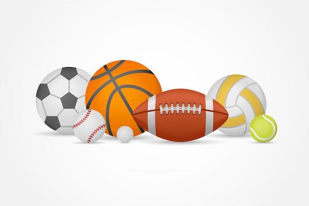Juego de pelotas de diferentes deportes en un montón. equipo para fútbol, baloncesto, béisbol, voleibol, tenis y golf.