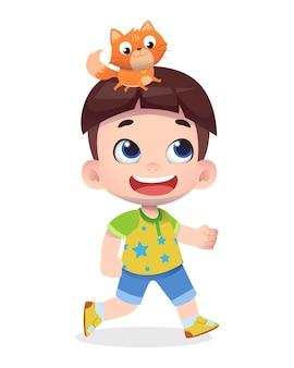 Juego de personaje de niño lindo feliz con gato mascota