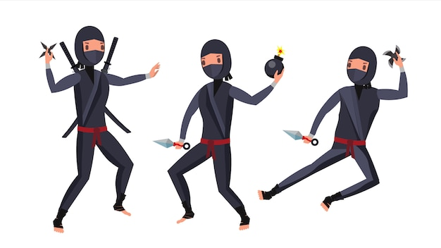 Juego de personajes de ninja warrior.