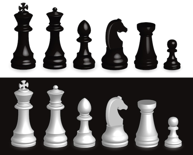Juego de piezas de ajedrez 3d juego realista de todas las piezas de ajedrez en 3d en blanco y negro