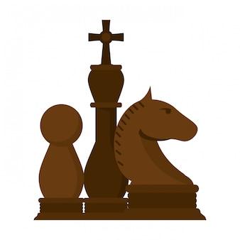 Juego de piezas de ajedrez de dibujos animados.