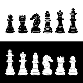 Juego de piezas de ajedrez. ilustración