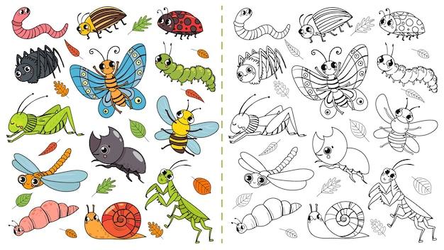 Juego de pintura de color de insectos de dibujos animados