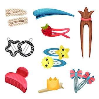 Juego de pinzas y lazos para el cabello para niños