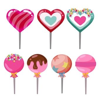 Juego de piruletas de caramelo en forma de corazón