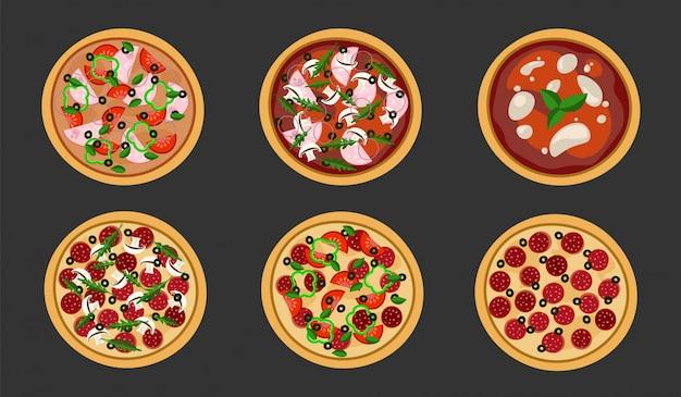 Juego de pizza en un piso en negro. ilustración. aislado.