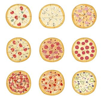 Juego de pizzas con varios rellenos. ilustración.
