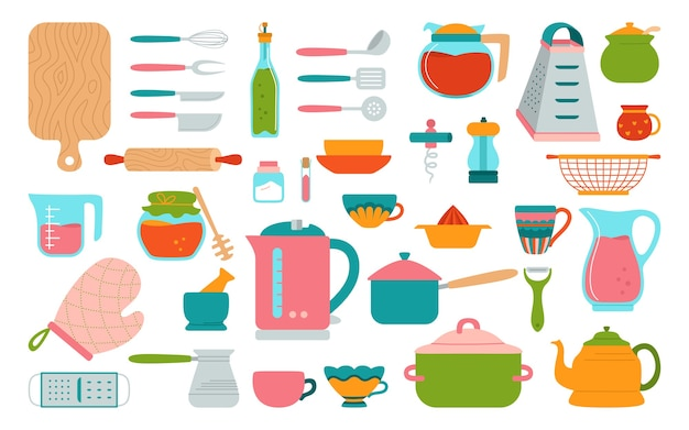 Juego plano de herramientas de cocina cocina moderna para hornear platos de dibujos animados equipos platos taza tachuela tetera rallador y sartén utensilios de cocina dibujados a mano objetos de colección preparación de alimentos