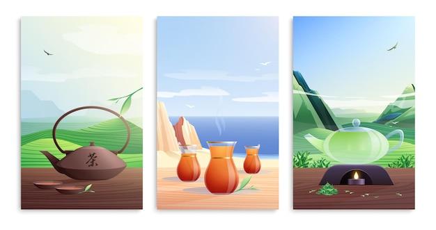 Juego plano de tarjetas de té natural con vasos de tetera y hojas de té verde aisladas