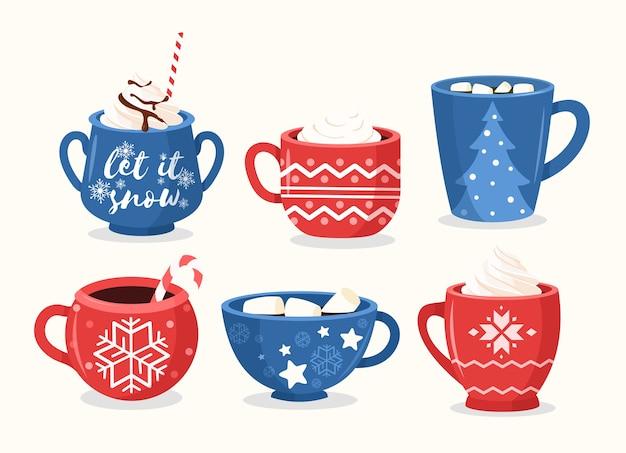 Juego plano de tazas de navidad. tazas festivas con adornos, copos de nieve y letras.