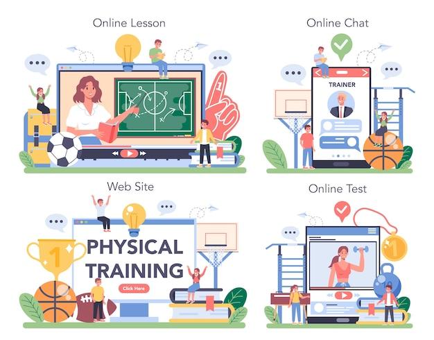 Juego de plataforma o servicio en línea de clase de educación física o deporte escolar.