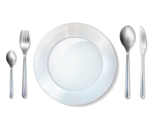 Juego de platos y cubiertos de imagen realista.