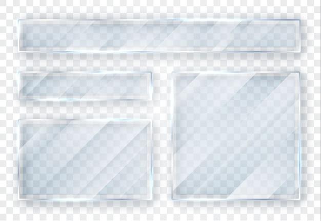 Juego de platos de vidrio. banners de vidrio sobre fondo transparente.