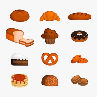 Juego de postres de panadería para cafetería o pastelería. ilustración vectorial