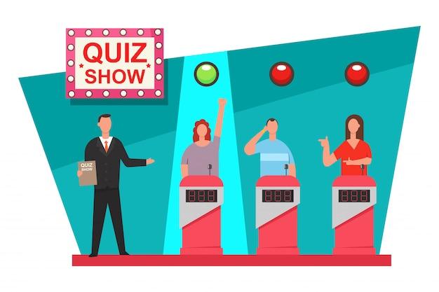 Juego de preguntas programa de televisión ilustración plana