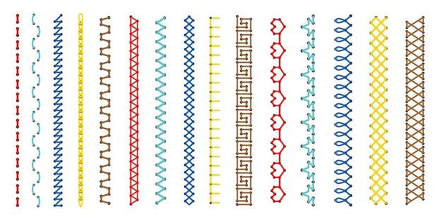 Juego de puntadas de bordado. conjunto de bordes de puntadas de cruz y línea