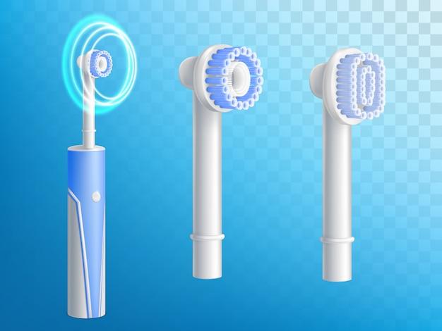 Juego realista en 3d de cepillos de dientes, boquillas desmontables para producto de higiene.
