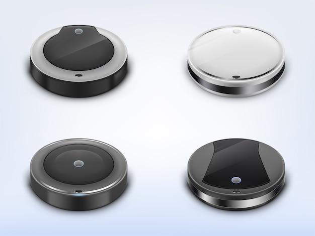 Juego realista con aspiradoras robotizadas, robots redondos inteligentes que se utilizan para las tareas domésticas