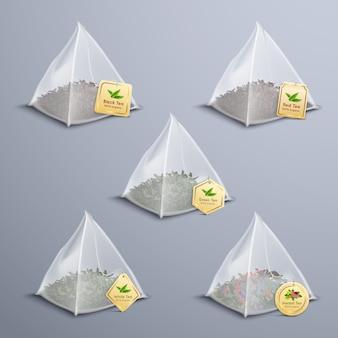 Juego realista de bolsitas piramidales de té
