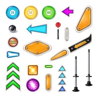 Juego realista de campo de juego de máquina de pinball con émbolo bola de acero flechas brillantes aletas parachoques objetivos ilustración