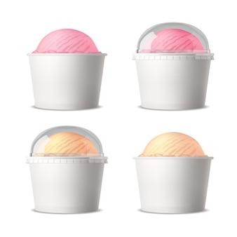 Juego realista de vasos de plástico blanco con helado de diferentes sabores.