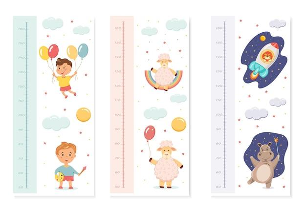 Un juego de reglas para bebés para medir el crecimiento con ilustraciones de lindos animales.