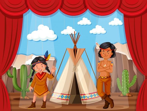 Juego de rol de nativos americanos en el escenario